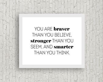 Christopher Robin Winnie the Pooh Quote Braver than You Belive Stronger than You Seem Smarter than You Think Wall Hanging Boy Nursery Room