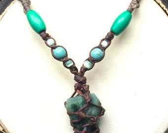 Macrame Necklace with Chrysocolla Stone.