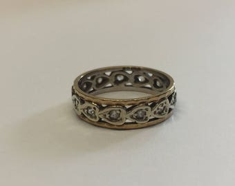 9ct Gold Full Eternity Ring With White Stones In White Gold Shank