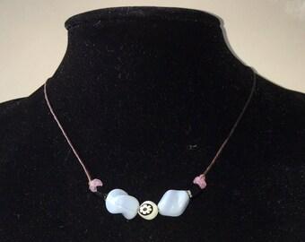 Handmade Choker with Vintage Blue Swirl Glass Beads