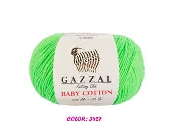Gazzal Baby Cotton Yarn - Light Green (3427)