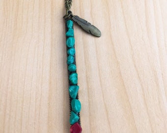 Raw Turquoise & Bamboo Coral Pendant Necklace