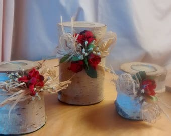 Birch and Rose Candle Holders