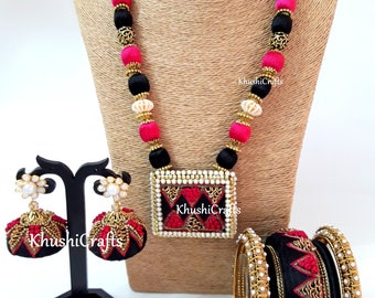 Pink and Black Raw Silk/Silk Thread Jewelry Set with Jhumkas and matching raw silk bangles -Handmade Indian Jewelry