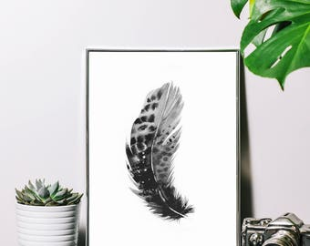 Feather Print, Black&White, Wall Art, Bedroom Print, Living room decor