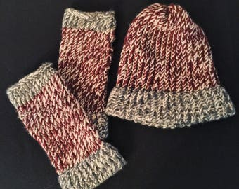 Soft Maroon and Grey Knit Hat and Glove Set