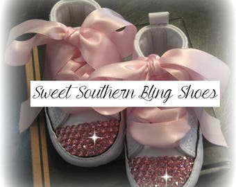 White and Pink Baby Bling Converse Crib Shoes