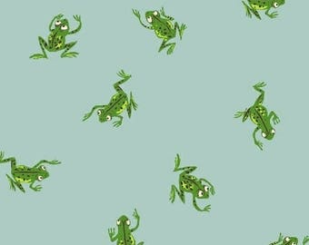 PREORDER - Heather Ross - Frogs in Pale Blue - Kinder - (43484-9) - 1/2 Yard++