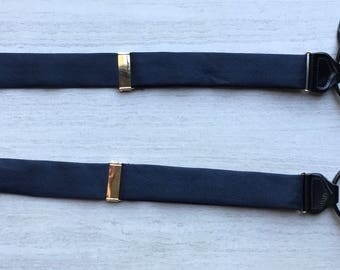 Black Navy Blue Herringbone Silk & Leather Button On Suspenders