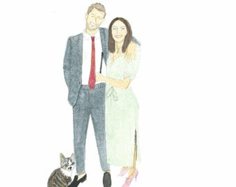 Custom made portrait with two people and a pet. This is an example.