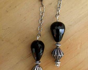 Long Bead Dangle Silver Chain