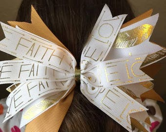 Hope Faith Love 6in Hair Bow Gold and White