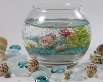 Mini Goldfish Aquarium Gel Wax Candle with Replaceable Beeswax Candles Choose from Lavender, Jasmine, Rose or Unscented