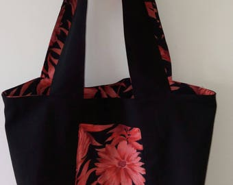 TOTE BAG handmade fabric reversible shoulder bag