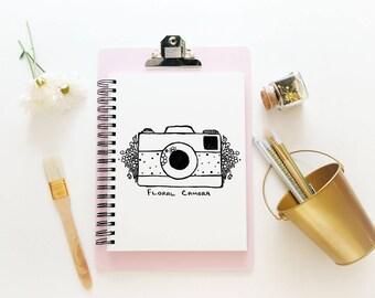Hand Drawn Premade Logo - One of a Kind OOAK - Cute, Feminine, Floral Camera Design