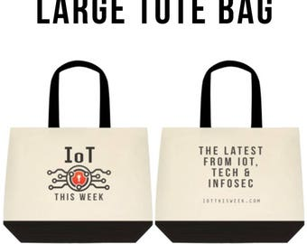 IOT This Week Canvas Large Tote Bag with Black Handles & Bottom