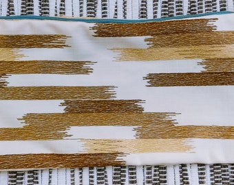 "Gold Stripes, Blue zipper 12 1/2"" x 5 1/4"""