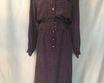 80's Hana Sung Size 12 Button-Down Long-Sleeve Collared Patterned Dress With Matching Belt