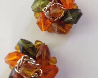 Orange Green & Gold Earrings