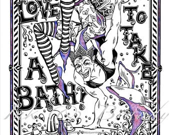 Bathtub Gin Print, Hand Drawn Song Illustration