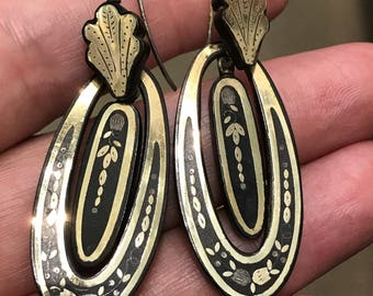 Victorian piqué antique earrings with gold and silver inlay