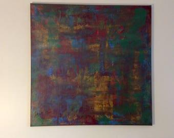 Original abstract Painting Free Shipping Canada Abstract Painting Abstract Art Red Gold Blue Contemporary Art Large Wall Art