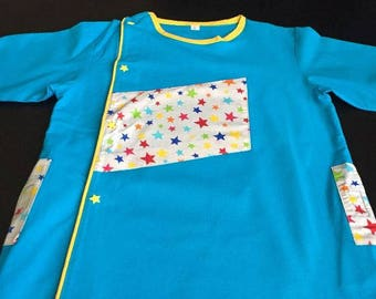 School apron - starry blue school blouse with snap buttons and pockets