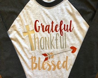 Grateful Thankful Blessed Raglan Tee with Arrows FREE SHIPPING