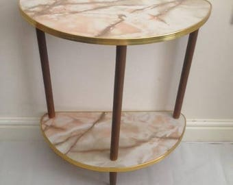 vintage retro marble effect formica table with wooden legs with free uk delivery