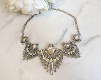 Gold & Silver Rhinestone Bib Necklace || Statement Necklace