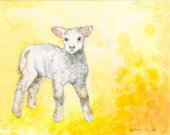 Little Lamb (original watercolor and ink painting)