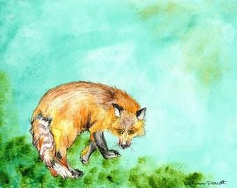 Fox (original watercolor and ink painting)
