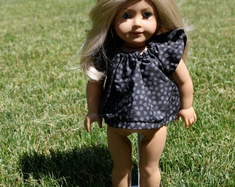 18 inch Doll Black and Grey Polka-Dotted Shirt