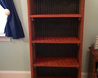Wood and Metal Tin Bookshelf