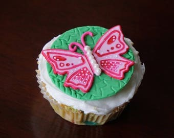 Fondant Butterfly, Cupcake Topper, Butterfly Cake Topper, Butterfly Birthday
