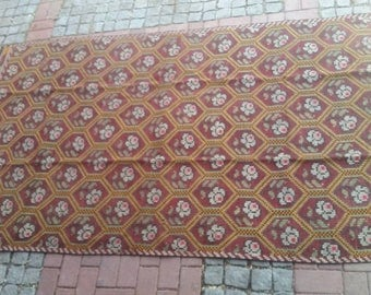 Large embroidered Turkish rug. Hand woven. Made in Adana. Over 40 years old. Traditional rich colours and intricate pattern