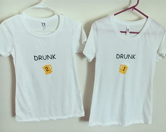 Womens Drunk 1 & Drunk 2 Fitted Tees