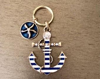 Blue Anchor away keychain