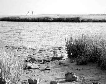 Into The Bay. Black and White Nature Photography Fine Art Print. Beach, Shore, Seascape, Coastal Wall Decor.