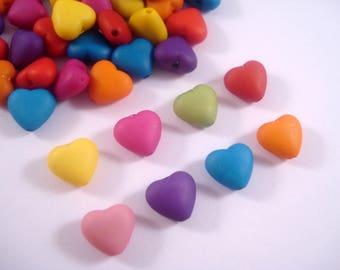 Heart Beads 8mm x 100 - Colour Mix