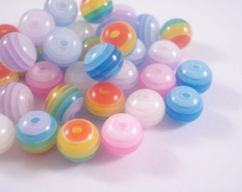 Striped Round Beads 8mm x 200 - Colour Mix