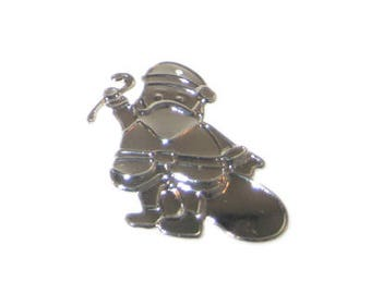 36 x 38mm Silver Santa Thin Pendant - 3 pendants