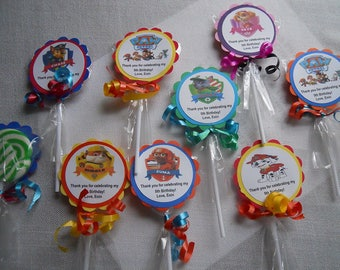 "24 Paw Patrol party favors 2"" hard candy swirl lollipops Personalized 2nd 3rd 4th 5th 6th 7th 8th 9th Birthday favors"