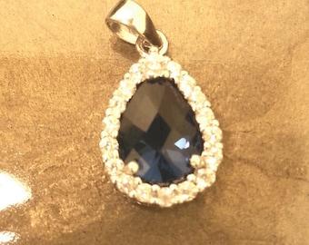 Blue Sapphire Sterling Silver Pendant