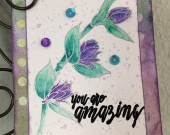 "Handmade card, Altenew stamp ""Floral Sprig"", Watercolor, All Occasion Card, encouragement card, Birthday, Mother's Day, special friend card"