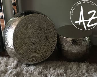 Metal Hammered Drum Set of 2 Planters For Indoors / Outdoors