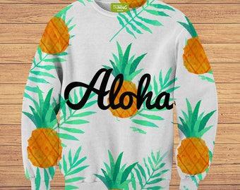 TeenMango Colorful Aloha Pineapple Sweater (fullprint, colorfull) free worldwide shipping