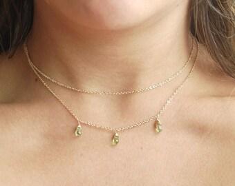 Layered Peridot Necklace // Green Gemstone Necklace // Gold Layered Necklace // Layered Gemstone // Gifts for Her // Bridesmaids Gifts