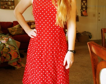 Retro Red Polka Dot Dress