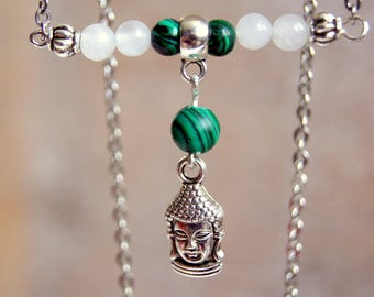 Necklace with malachite and jade gemstones beads and Buddha head
